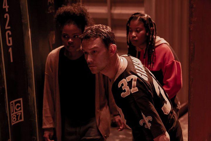 "Actors Sienna Jeffries, Joseph Gordon-Levitt and Dominique Fishback in ""Project Power"" on Netflix."