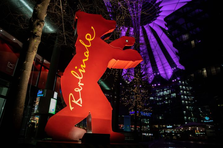 A statue of the Berlinale logo stands outside the Arkaden mall prior to the 69th Berlinale International Film Festival on Feb
