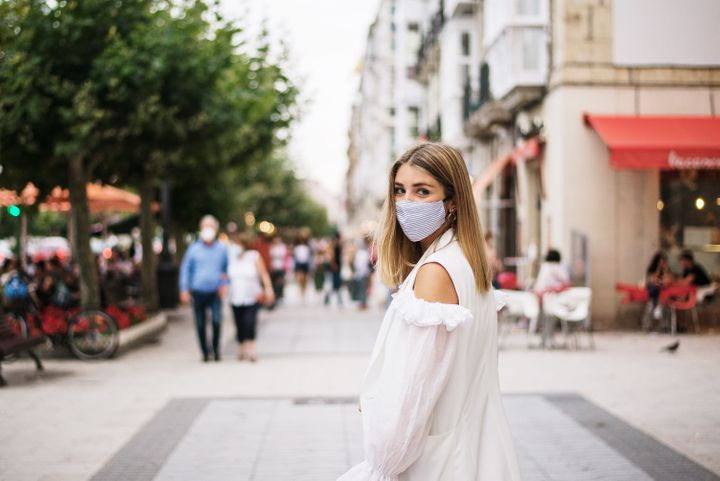 """These face masks are sure to make a fashion statement&nbsp;&mdash; <a href=""""https://www.huffpost.com/entry/funny-social-distancing-products-merch-masks-shirts-pins_l_5ef50c5fc5b6ca97090cf324"""" target=""""_blank"""" rel=""""noopener noreferrer"""">from 6 feet away</a>."""
