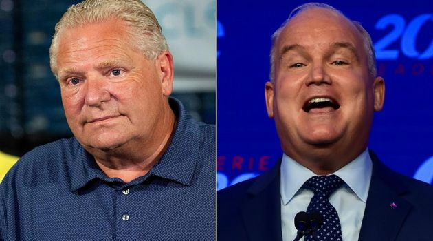 Ontario Premier Doug Ford and Conservative Leader Erin O'Toole are shown in a composite of images from...