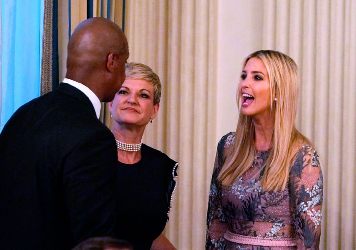 Ivanka Trump is seen at an event honoring Evangelical leadership in the State Dining Room of the White House on August 27, 20