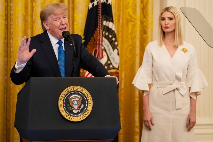 Ivanka Trump listens as President Donald Trump speaks during an event on human trafficking in the East Room of the White Hous