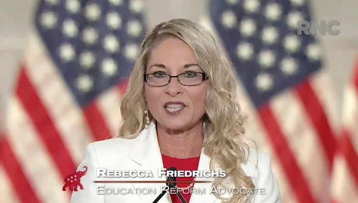 Teacher Rebecca Friedrichs addresses the virtual Republican National Convention on Aug. 24, 2020.