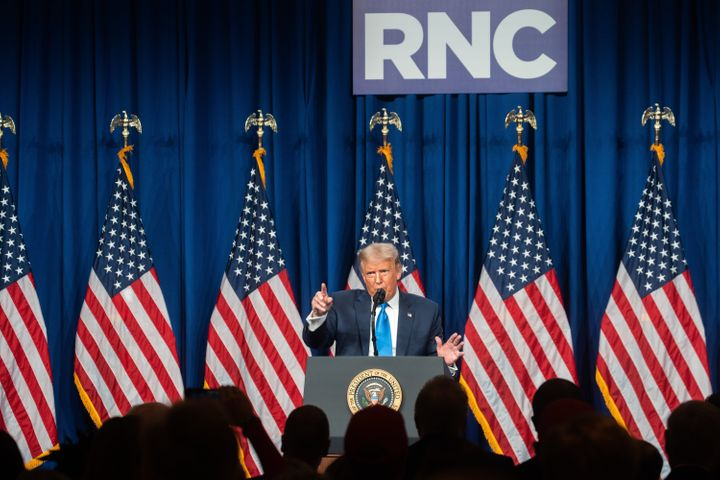 President Donald Trump speaks on the first day of the Republican National Convention at the Charlotte Convention Center on Mo