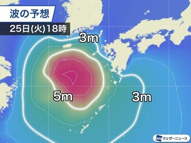 波の高さの予想 25日(火)18時