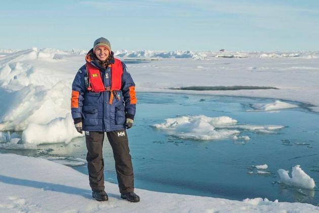 Lauren Farmer, seen at work near the North Pole, is back in Australia applying for her UK spousal