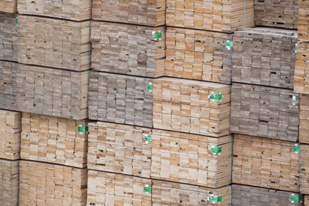 Softwood lumber is pictured along the Fraser River in Richmond, B.C., on April 25, 2017. The U.S. has...