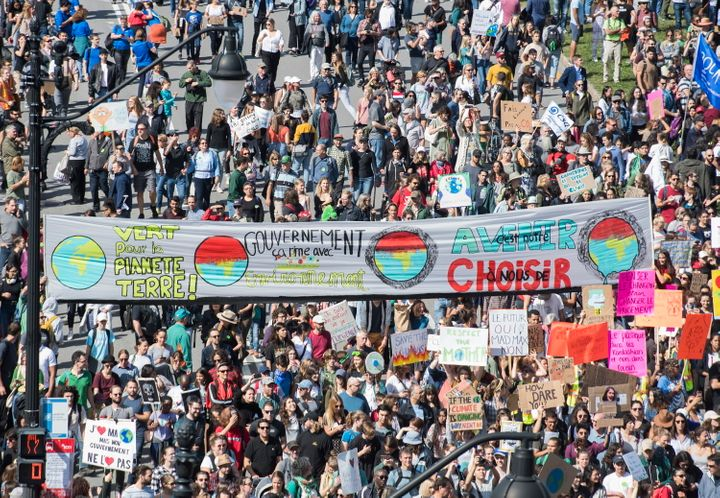 Hundreds of thousands of Canadians marched in a climate strike in Montreal on Sept. 27, 2019.