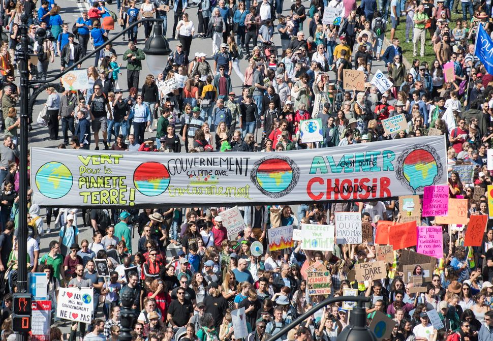 Hundreds of thousands of Canadians marched in a climate strike in Montreal on Sept. 27,