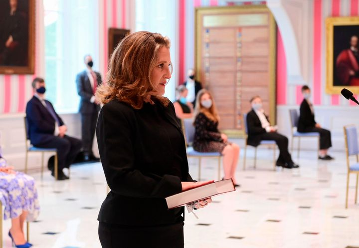 Chrystia Freeland is sworn in as Canada's Finance Minister on Aug. 18, 2020 in Ottawa.