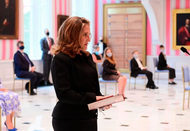 Chrystia Freeland is sworn in as Canada's Finance Minister on Aug. 18, 2020 in