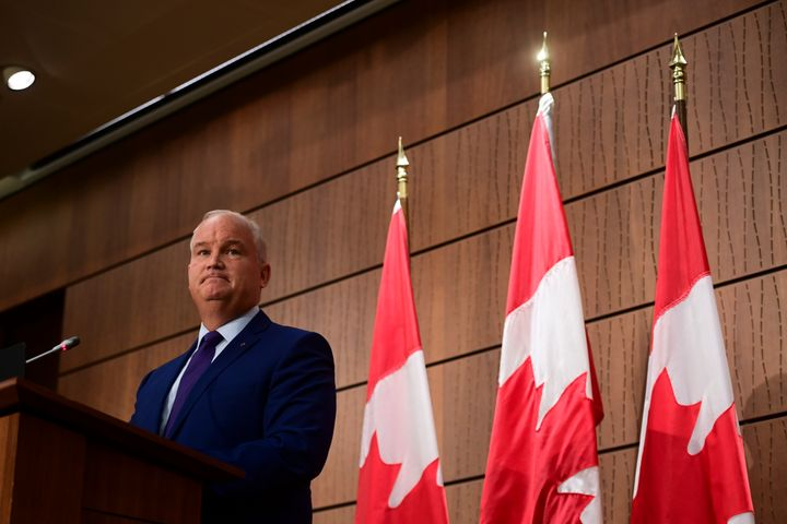 Conservative Leader Erin O'Toole holds his first news conference as leader on Parliament Hill in Ottawa on Aug. 25, 2020.