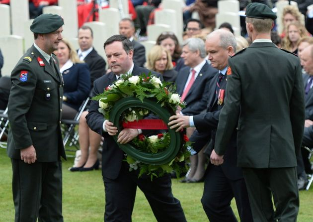 Then-Minister of Defence Jason Kenney and then-Minister of Veterans Affairs Erin O'Toole place a wreath...