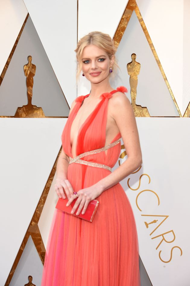 Samara Weaving arrives for the 90th Annual Academy Awards on March 4, 2018, in Hollywood,