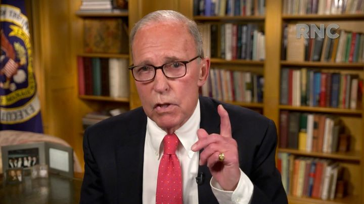 White House economic adviser Larry Kudlow addresses the GOP virtual convention on Tuesday. Kudlow, who served in the Reagan a