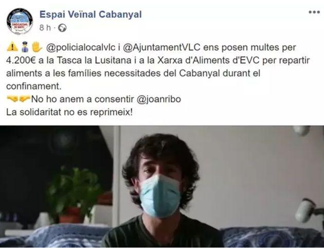 Captura de pantalla de la publicación de Espai Veïnal
