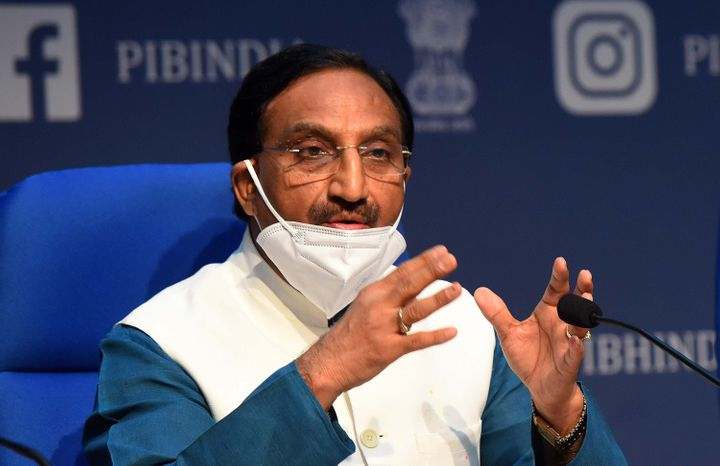 Union Cabinet Minister Ramesh Pokhriyal addresses media during a press conference on the New Education Policy 2020 on July 29, 2020.