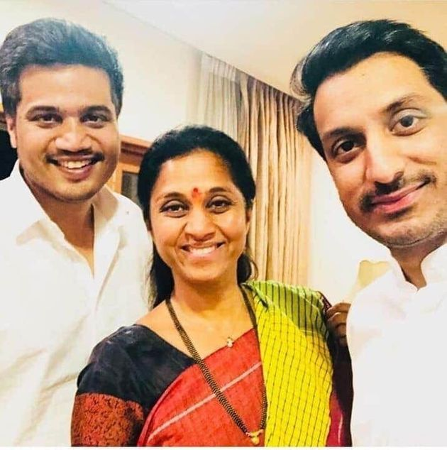 Sharad Pawar's daughter Supriya Sule with Parth and Rohit Pawar in a file