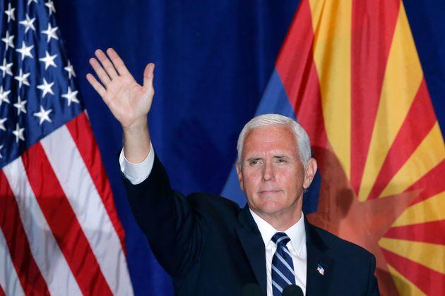Mike Pence, en un acto de campaña en Mesa, Arizona, en agosto de