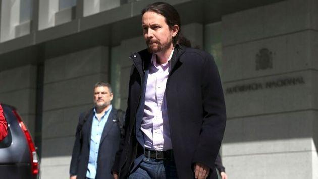 Pablo Iglesias, a su llegada a la Audiencia Nacional para declarar por el 'caso Villarejo' en marzo de