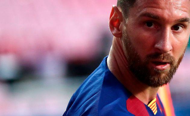 El jugador del FC Barcelona, Lionel Messi, durante el partido contra el Bayern de Munich en los cuartos...