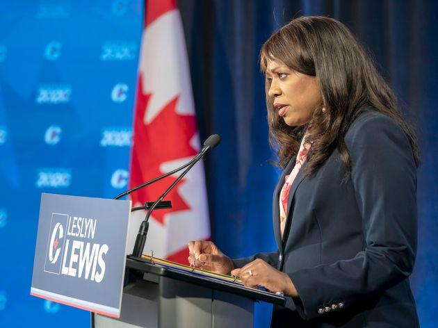 Leslyn Lewis speaks during the Conservative leadership race debate in Toronto on June 17, 2020. She made...