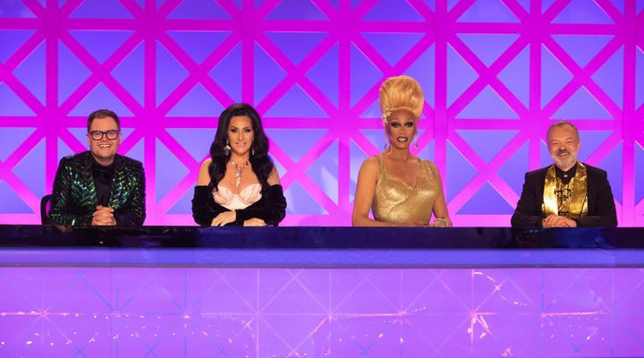 RuPaul with fellow judges Alan Carr, Michelle Visage and Graham Norton on Drag Race UK