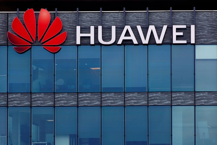 A Huawei Technologies sign is seen here on a building near Paris on July 15, 2020.Canada has been mulling whether to disbar the firm's next-generation equipment for the better part of two years.