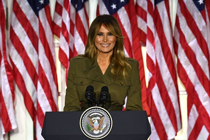 Melania Trump addresses the Republican National Convention from the Rose Garden at the White House on August 25, 2020 in Wash