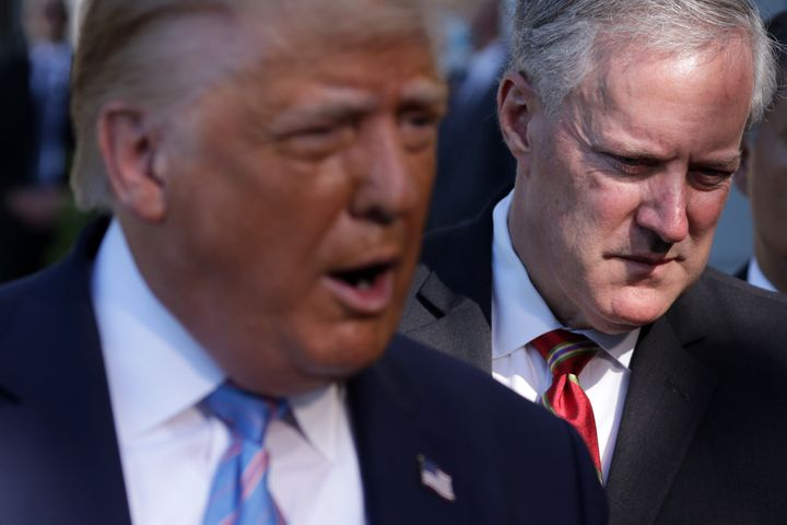 White House Chief of Staff Mark Meadows (right) dismissed allegations of Hatch Act violations amid the Republican National Co