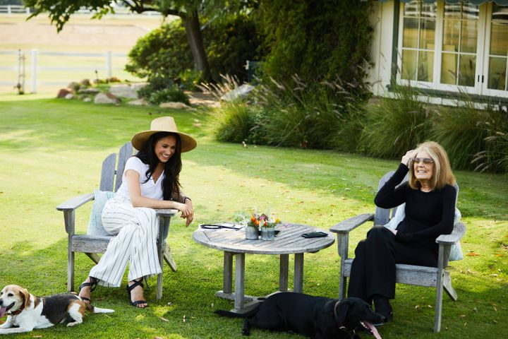 The Duchess of Sussex, Meghan Markle, left, and iconic feminist, Gloria Steinem, discuss voting, racism and feminism in a backyard conversation presented by MAKERS.com.