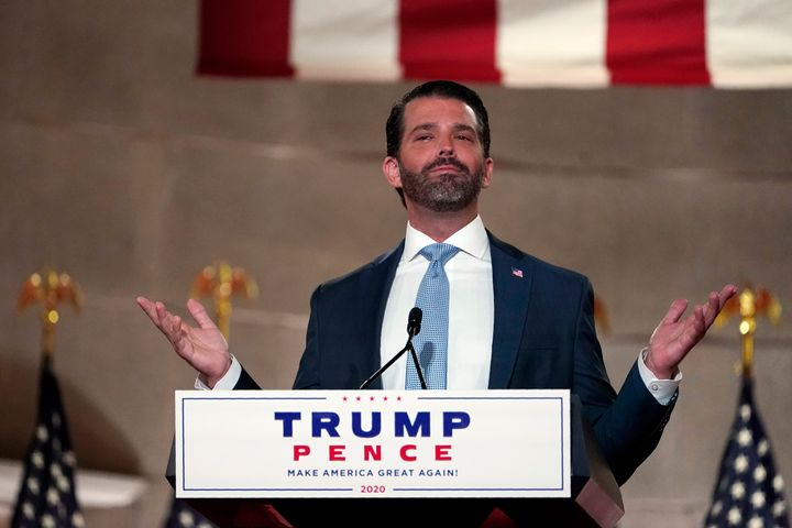 Donald Trump Jr. speaks at the Republican National Convention on Aug. 24, 2020.