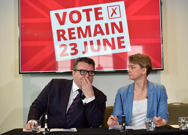 Tom Watson and Yvette Cooper during the 2016 EU referendum