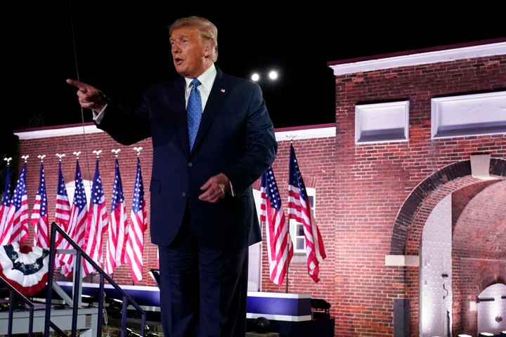President Donald Trump takes the stage after Vice President Mike Pence spoke Wednesday on the third night of the Republican N