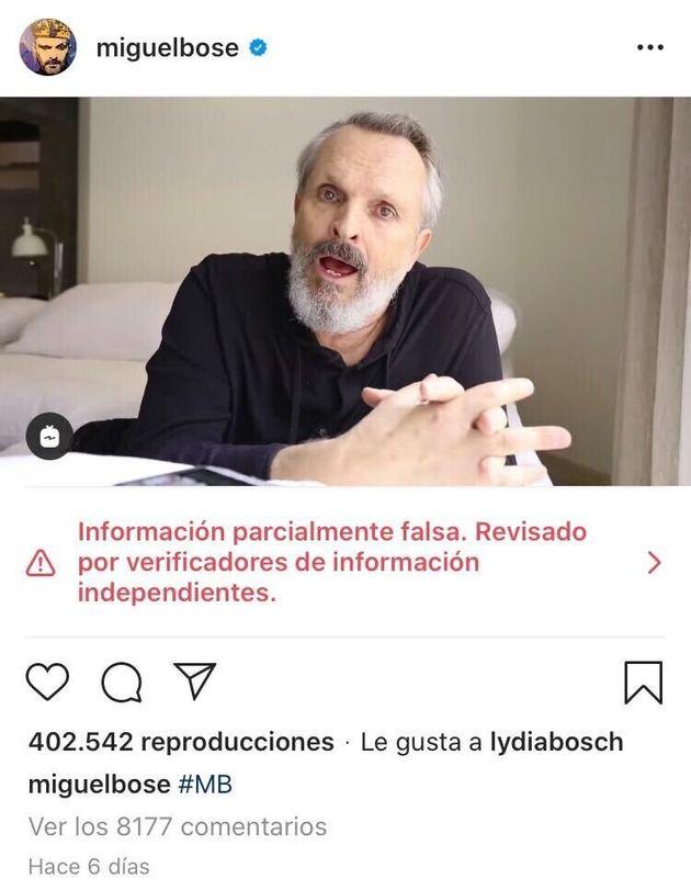 Captura de pantalla de una publicación de Instagram de Miguel