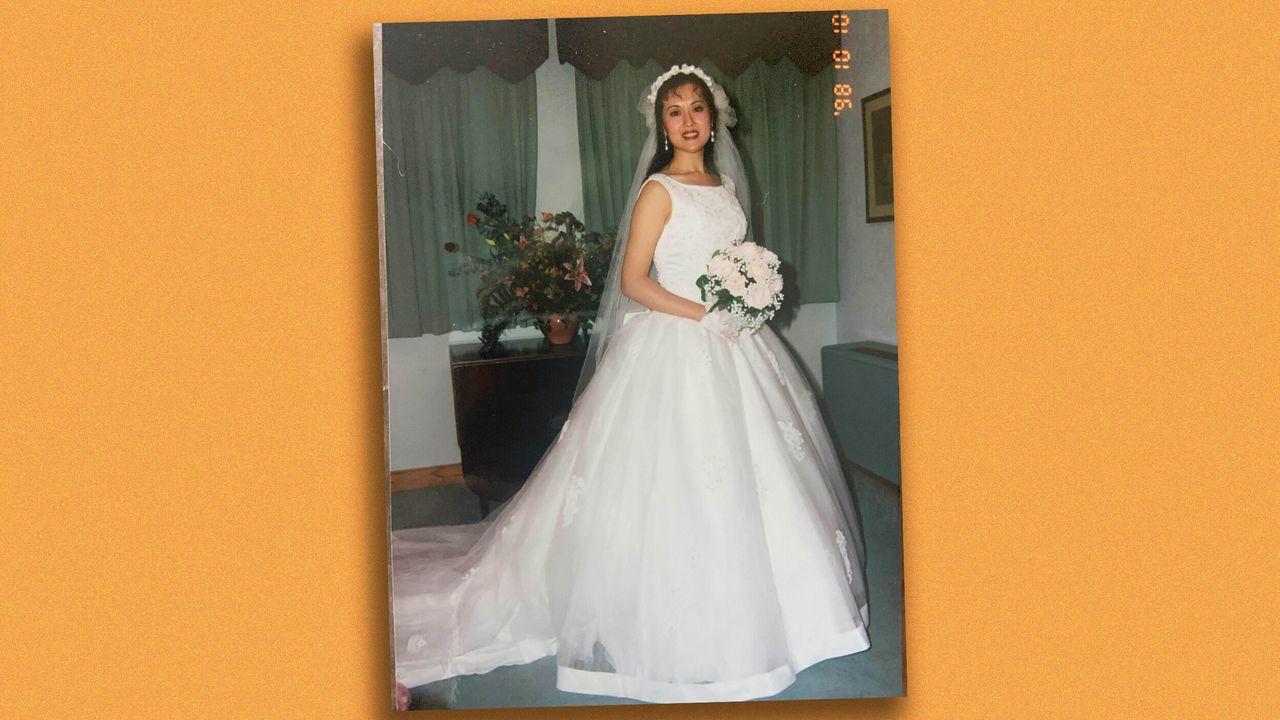 Angela in her wedding dress.
