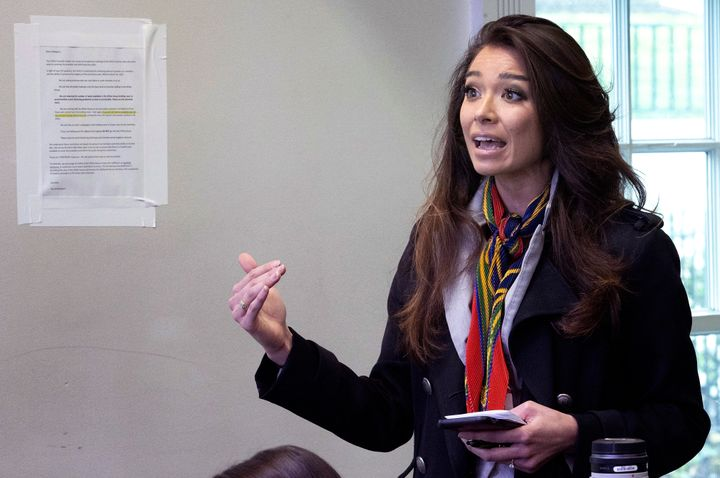 Chanel Rion of OAN asks a question during the daily White House coronavirus briefing on April 1.