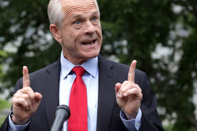 Director of Trade and Manufacturing Policy Peter Navarro speaks to members of the press outside the West...