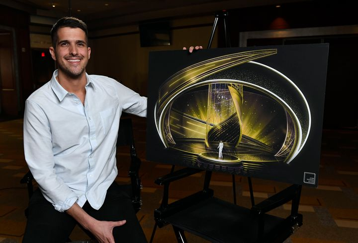 Jason Sherwood with a mockup of hisset design for the 92nd Academy Awards, which aired Feb. 9.