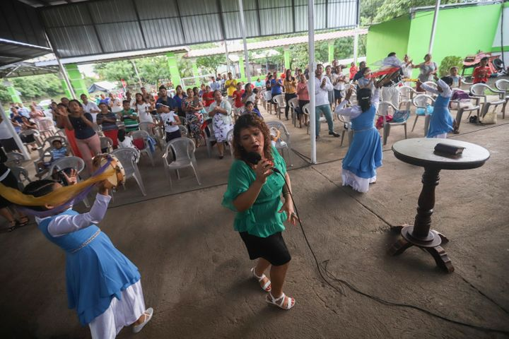 People attend a religious service at the Oasis of Peace evangelical church in Managua, Nicaragua, Sunday, Aug. 16, 2020.&nbsp