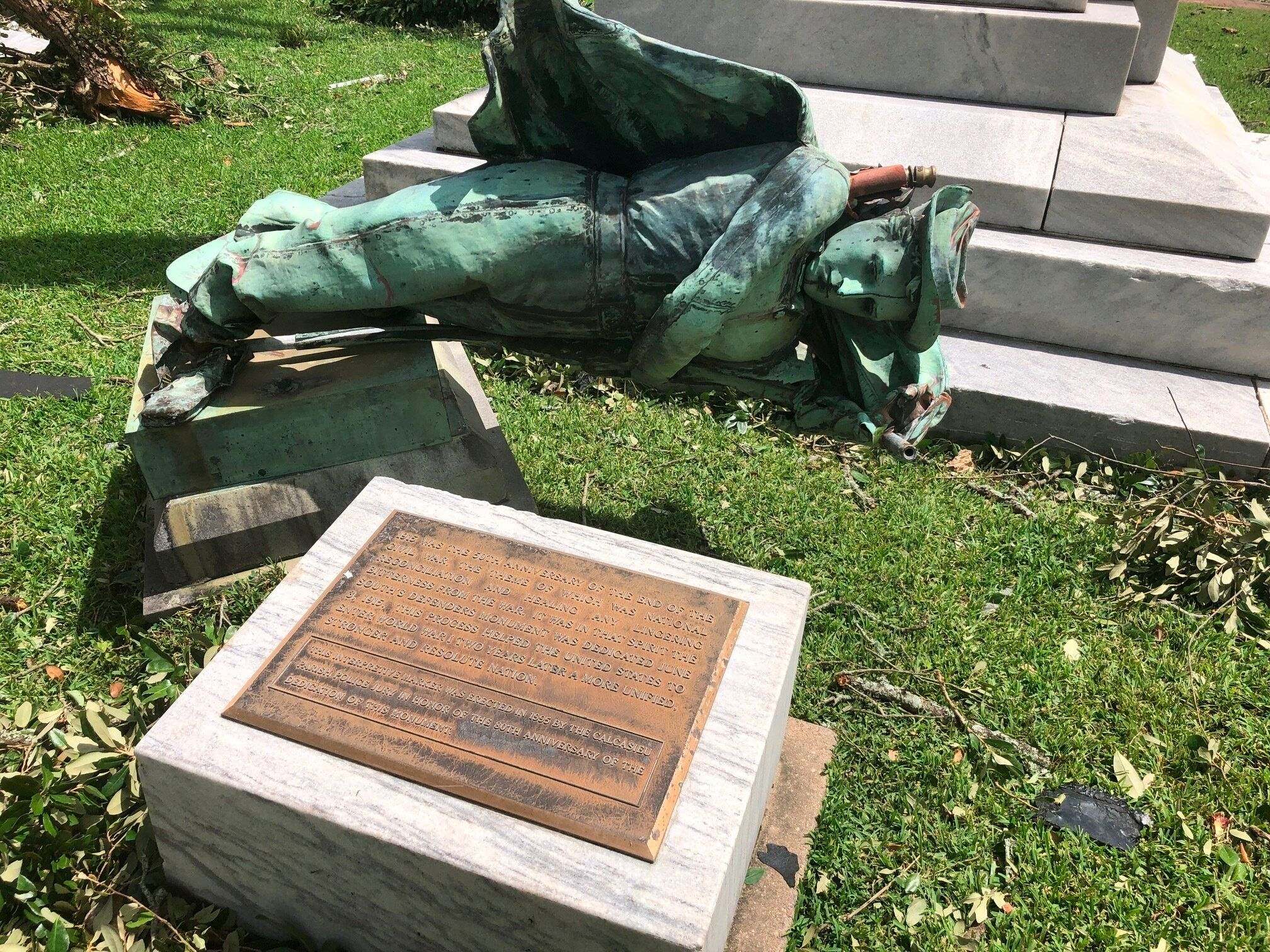 Earlier this month, parish officials voted to keep this statue, called The South's Defenders Monument, in its place. Hurricane Laura had other ideas.