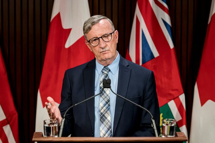 Dr. David Williams, Chief Medical Officer of Health for Ontario makes an announcement at Queen's Park in Toronto on Aug, 13.