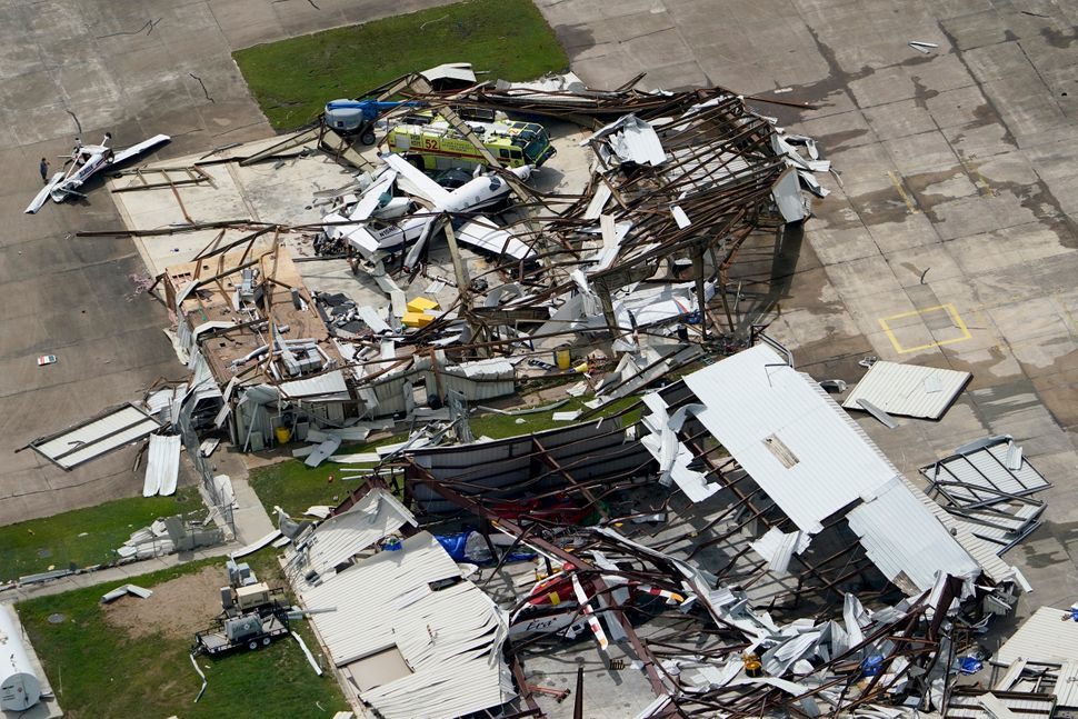 An airplane hanger was destroyed on Thursday after Hurricane Laura blew through the area near Lake Charles, La.