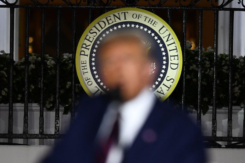 도널드 트럼프 대통령이 공화당 대선후보 수락연설을 하고 있다. 2020년
