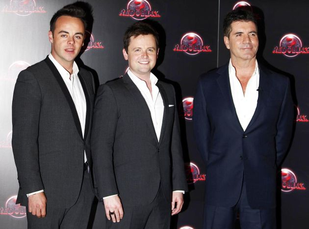 Ant and Dec with Simon Cowell at the launch of their show Red Or Black in
