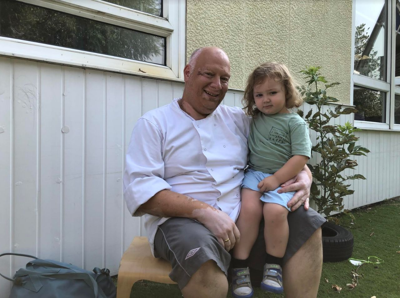 Tony Savage with his son Aidan, 2.
