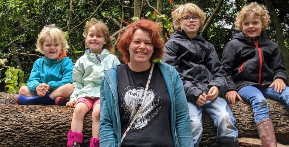 Sally Worrall with her four children, Chester, nine, Rory, seven and four-year-old twins Jenson and