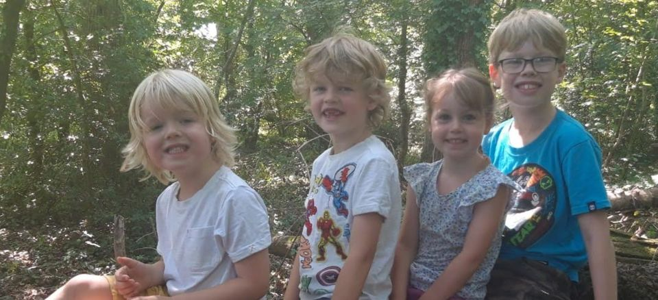 Sally Worrall's four children, Chester, nine, Rory, seven and four-year-old twins Jenson and