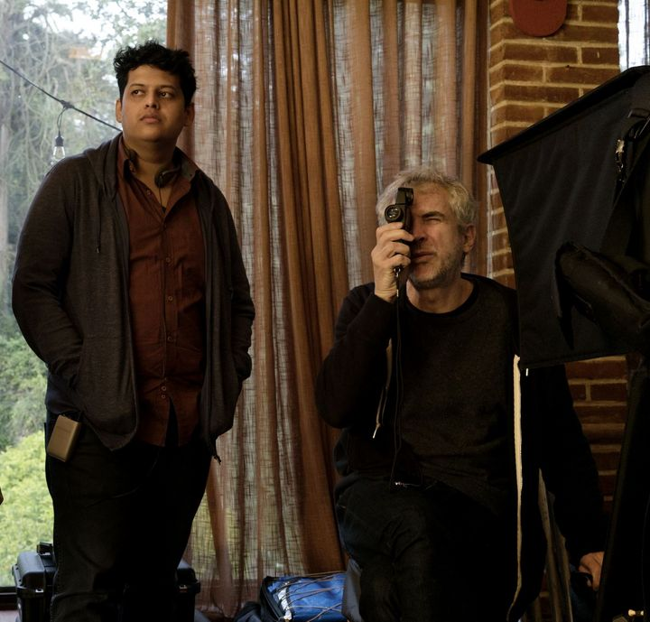 Chaitanya Tamhane (centre) and Mentor Alfonso Cuarón (right) in Mexico on the set of Cuarón's new feature, Roma