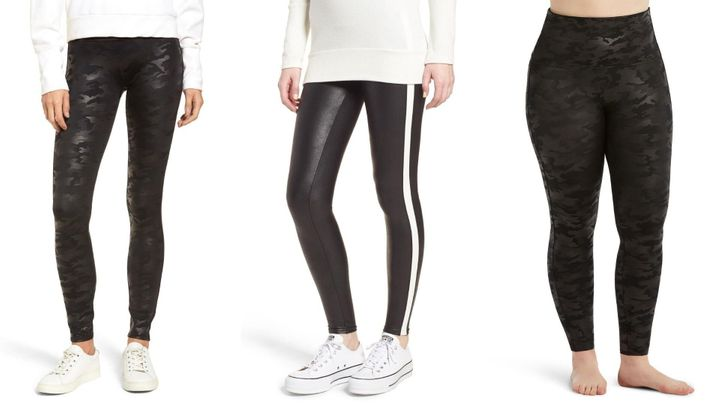 "You can get Spanx&rsquo;s <a href=""https://fave.co/3jAfJDl"" target=""_blank"" rel=""noopener noreferrer"">Side Stripe Faux Leather Leggings</a> and <a href=""https://fave.co/3b3bj4N"" target=""_blank"" rel=""noopener noreferrer"">Faux Leather Camo Leggings</a>&nbsp;for $49 each. These <a href=""https://fave.co/3b3mFFT"" target=""_blank"" rel=""noopener noreferrer"">striped</a> and <a href=""https://fave.co/3jqnqfg"" target=""_blank"" rel=""noopener noreferrer"">camouflage</a> leggings also come in plus sizes 1X to 3X.&nbsp;"
